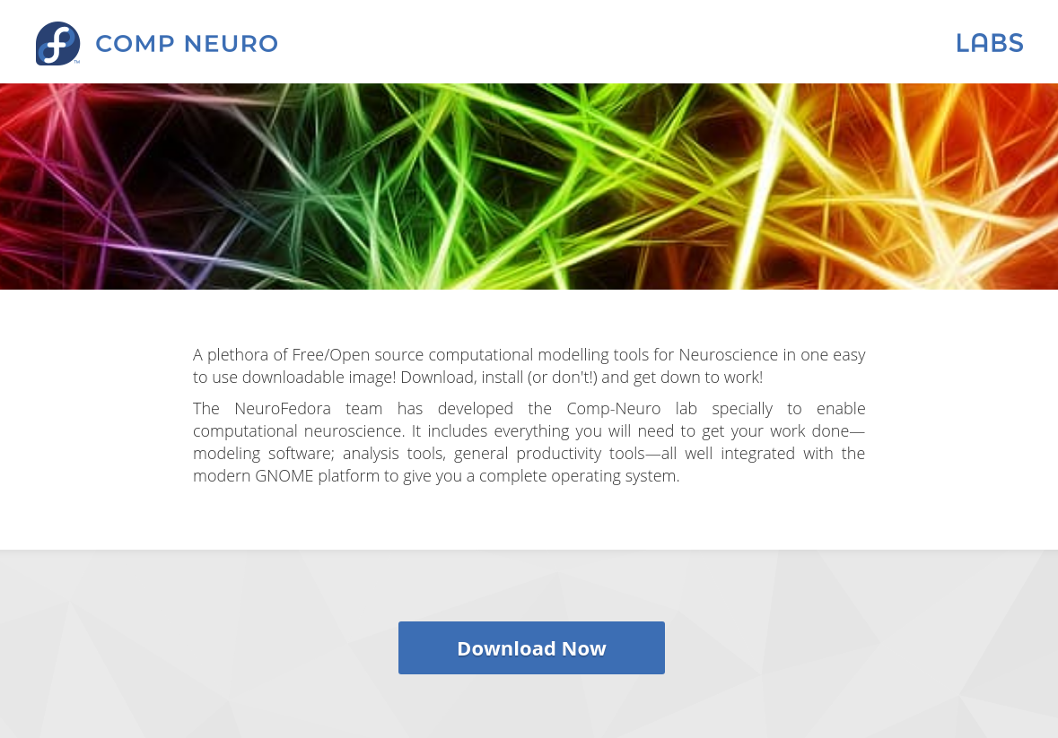 Download the Fedora 32 Computational Neuroscience image from labs.fedoraproject.org